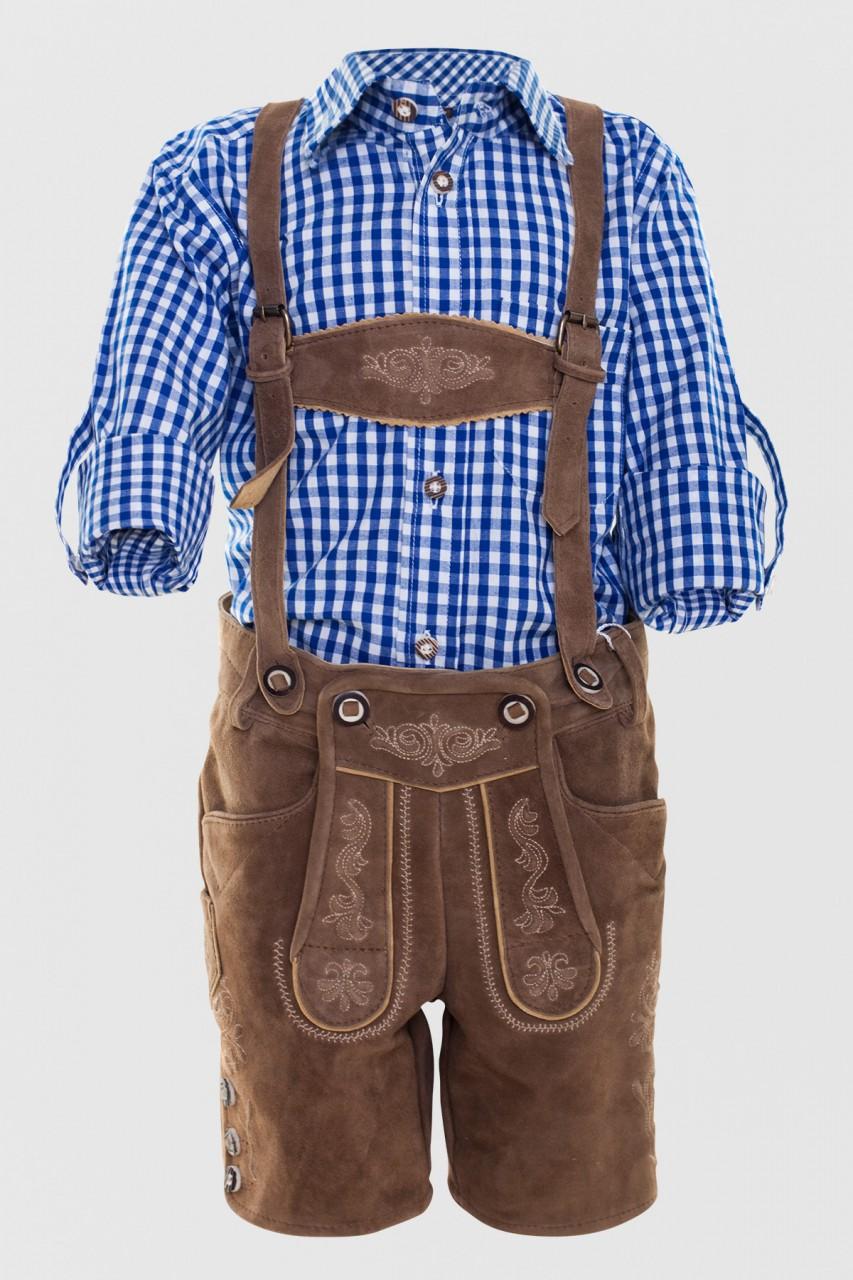 Chłopięce spodnie skórzane Kaiser Junior jasnobrązowe