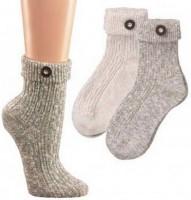 Umschlag Socken mit Trachtenknopf grau