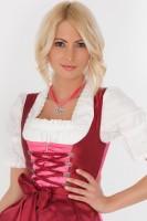 Sexy 3-piece red midi dirndl with balconette neckline