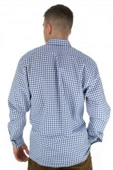 Trachten shirt Bertl donkerblauw geruit