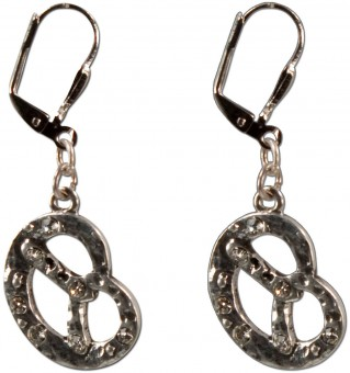 Rhinestone Pretzel Earrings, Antique Silver