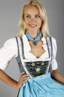 3-piece blue dirndl with traditional embroidery