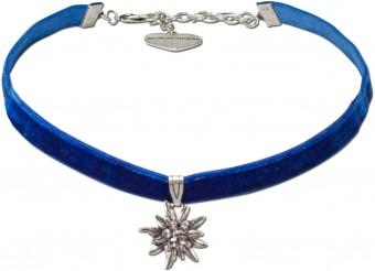 Samtkropfband kleines Edelweiß blau