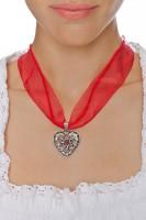 Vorschau: Chiffonband Herzkette mit Stein, rot