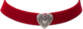 Thick Velvet Choker with Heart Pendant, Red