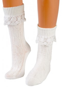 Trachten Socks with Lace Top, White