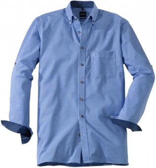 Olymp Hemd Trachtenhemd blau/weiss, Kariert