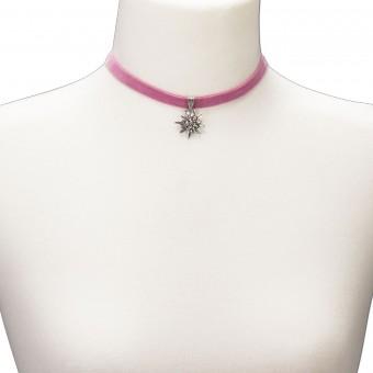 Samtkropfband kleines Edelweiß rosé