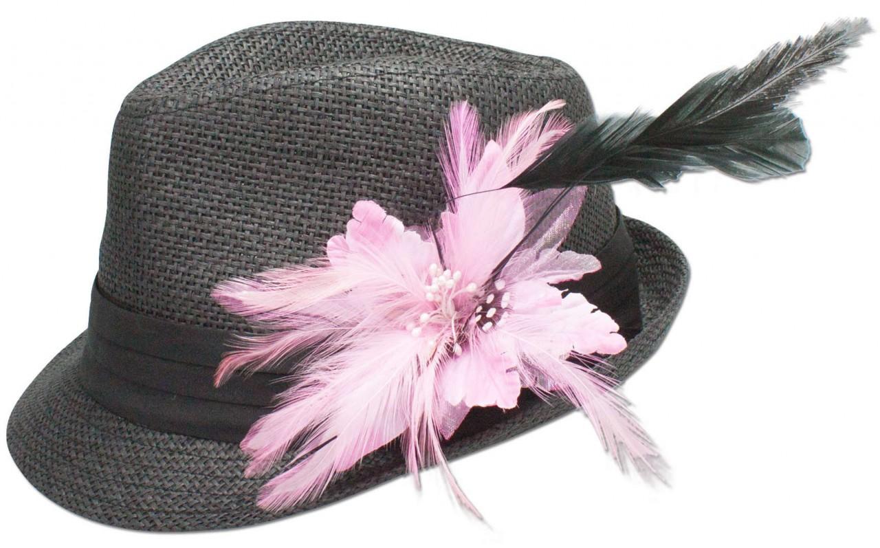 Strohhut Leni mit Federbrosche rosa