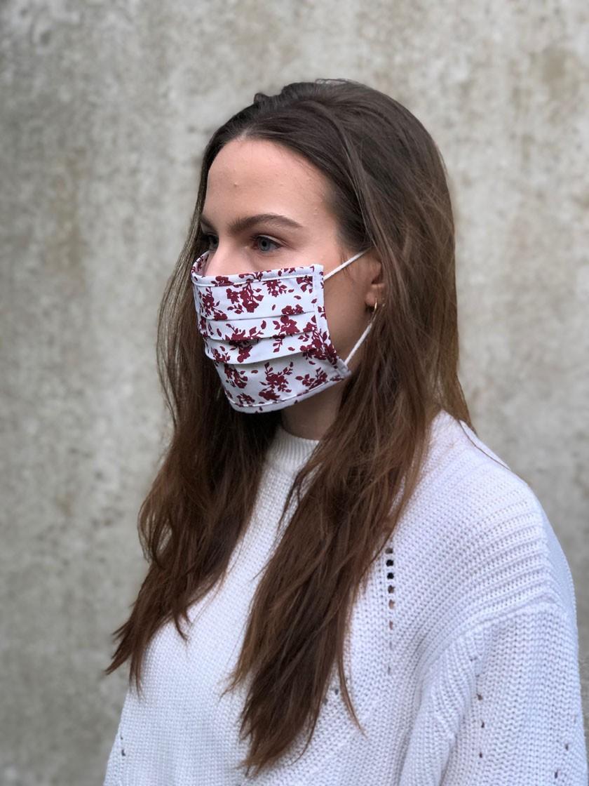 Mund-Nasen-Maske Blüten weinrot