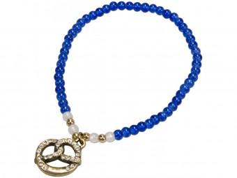 Trachten Perlenarmband mit Strass-Brezel blau