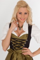 3-piece black midi dirndl with heart shaped centre
