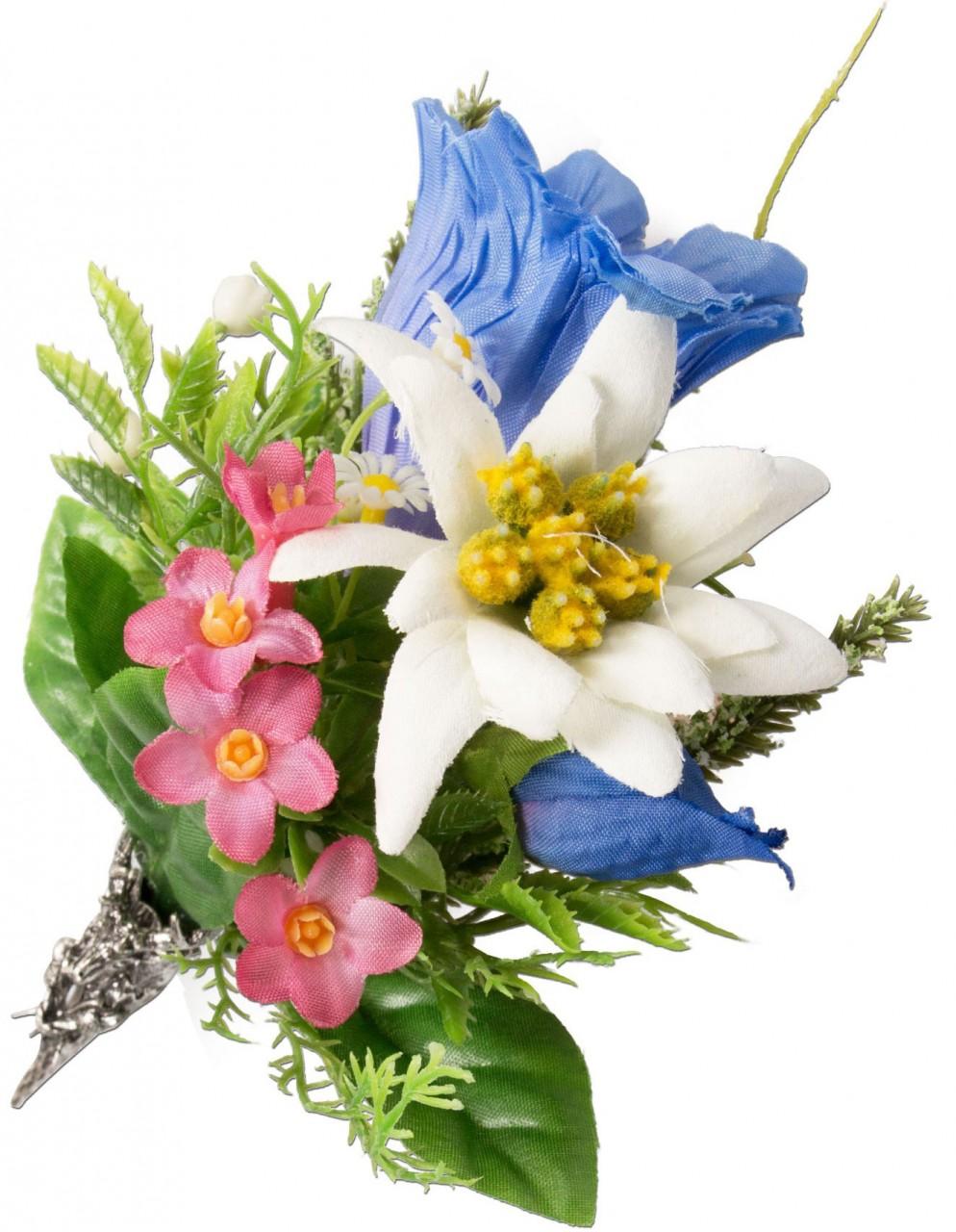 Trachtenbrosche Alpenblümchen