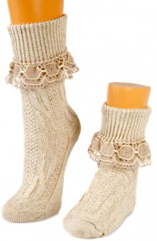 Trachten Socks wit Lace Top, Natural Colour