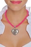 Vorschau: Kordelkette mit Edelweiß Herz, pink
