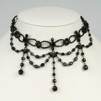 Glasperlen-Collier schwarz