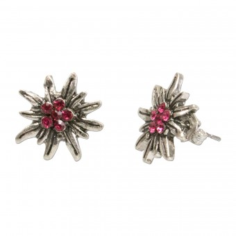 Mini Trachten Earrings, Edelweiss, Pink