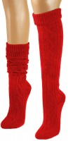 Preview: Knee-Length Winter Socks, Red