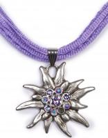 Edelweiß Kette mit 4 Satinbändern, lila