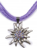 Edelweiß Kette mit 4 Satinbändern, lila Lila