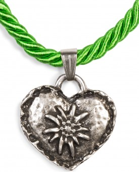Braid Necklace with Edelweiss Heart, Apple Green