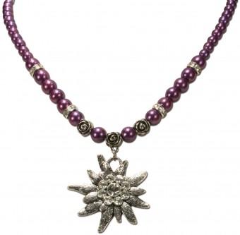 Perlenhalskette großes Edelweiß lila