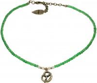 Vorschau: Perlenhalskette Strass-Brezel grün