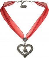 Vorschau: Organza Trachtenkette Maria rot