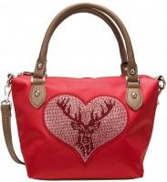 Trachten Handtasche mit Strass-Hirsch rot