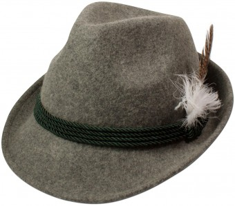 Trachten Felt Hat with Feather, Grey