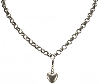 Trachten Mini Amulet Heart, Antique Silver