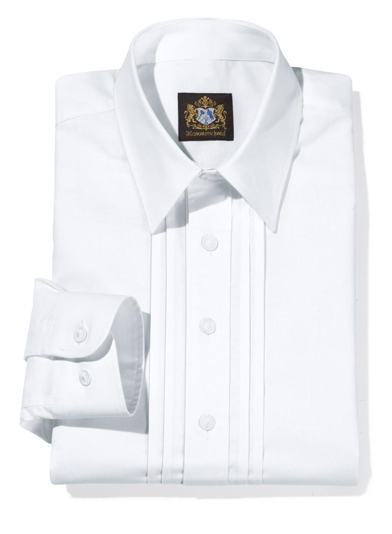 Riegelhemd mit Liegekragen weiß