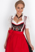 3-piece longer-length dirndl with red trailing pattern