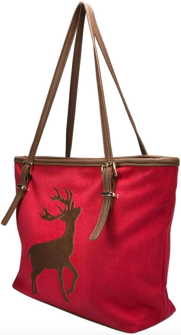 Trachten Handtasche mit Hirschstickerei rot