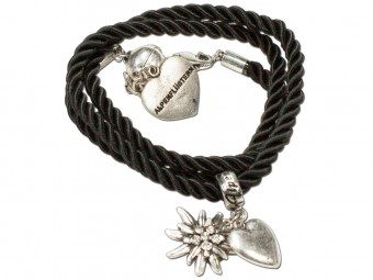 Braided Bracelet with Silver Charms, Black