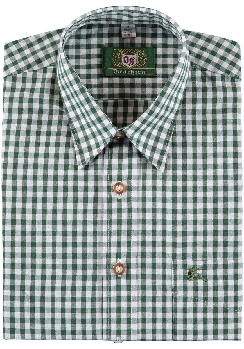 Tradycyjna koszula Bertl zielono-biała