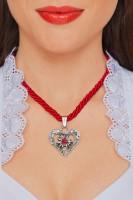 Vorschau: Kordelkette Herz mit Stein, rot