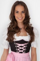 3-piece black dirndl with pink apron