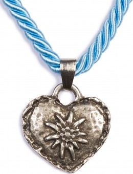 Braid Necklace with Edelweiss Heart, Light Blue
