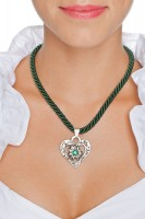 Preview: Braid Necklace with Heart Pendant, Fir Green