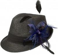 Vorschau: Strohhut Leni mit Federbrosche blau