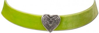 Thick Velvet Choker with Heart Pendant, Light Green