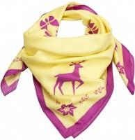Trachtentuch Waldtiere gelb-pink