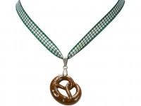 Vorschau: Trachten Halskette Brezel grün