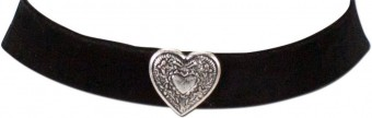 Thick Velvet Choker with Heart Pendant, Black