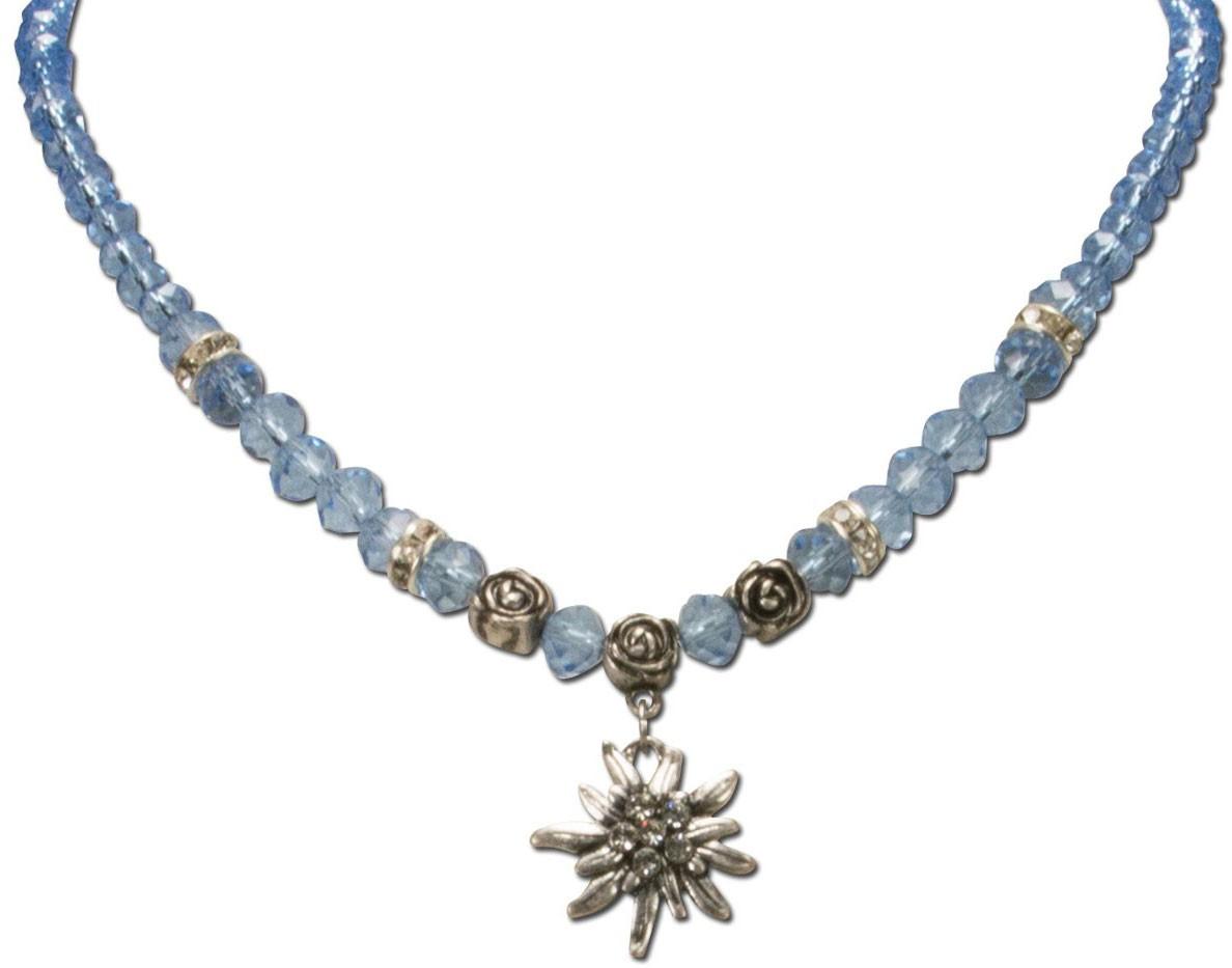 Perlenhalskette kleines Edelweiß hellblau