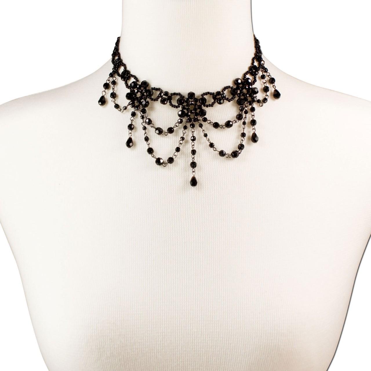 Perlenkropfkette Annabelle schwarz