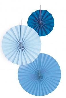3 blaue Papierrosetten