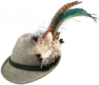 Felt Hat with Peacock Feather, Grey