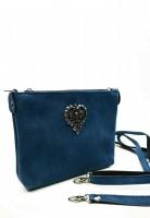 Wildledertasche Herz dunkelblau